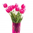 Beautiful  pink tulips in vase isolated on  white — Stock Photo #6661387
