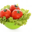 Stock Photo: Red tomato vegetables isolated on white background