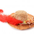 Woman hat with red feather and flowers - Stock Photo