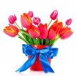 Stock Photo: Pink tulips on white background
