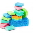 Color sponges on white background — Stock Photo