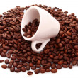 Stock Photo: Coffee beans and a cup isolated on white