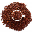 Coffee beans and a cup isolated on white — Stock Photo #6667855