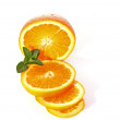 Sliced orange and mint isolated  on  white background — Stock Photo