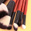 Royalty-Free Stock Photo: Cosmetic brushes on orange background