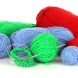 Stock Photo: Knitting yarn and knitting needles on white