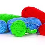 Knitting yarn and knitting needles on white — Stock Photo #6668812