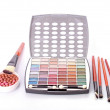 Big eye shadow kit, rouge and brushes on white background — Stock Photo