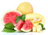 Melão e melancia em fatias — Fotografia Stock