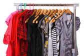 Different clothes on hangers — Stock Photo