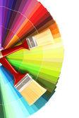 Parlak palet renk ve boya fırçaları — Stok fotoğraf