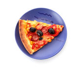 Tasty pizza with olives on the plate isolated on white — Stock Photo