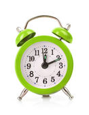 Green old style alarm clock isolated on white background — Stock Photo