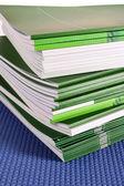 Pile of green magazines isolated on white background — Stock Photo