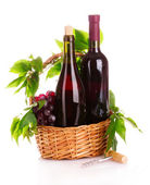 Red wine and grapes in a basket isolated on white — Stockfoto