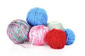 Knitting yarn and knitting needles on white — Stock Photo
