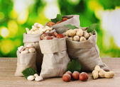 Variety of nuts in bags on green background — Stock Photo