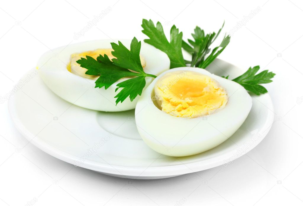 Boiled egg and parsley on plate isolated on white — Stock Photo #6660050