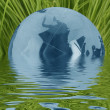 Stock Photo: Blue glass globe in grass with water