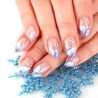 Nails with beautiful winter design on white — Stock Photo