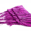Scarf. A winter warm violet scarf  over white — Stock Photo