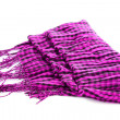 Scarf. A winter warm violet scarf  over white - Stock Photo