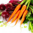 Beets, carrots and peas isolated on white - Stock Photo