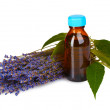 Lavender and oil in bottle isolated on white - Foto Stock