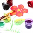 Opened paint buckets colors and drawing flowers — Stock Photo