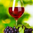 Ripe grapes and glass of wine — Stock Photo