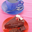 Slice of chocolate cake and cup of tea — Stock Photo #6679447