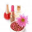 Many colourful woman cosmetics with flower on white white back — Stock Photo #6679571