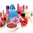 Many woman cosmetics with flower on white white background — Stock Photo