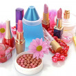 Many colourful woman cosmetics with flower on white white back — Stock Photo #6679588