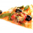 Tasty Pizza with olives isolated on white — Stock Photo #6679684
