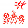 Royalty-Free Stock Photo: Children\'s drawing paints on which are drawn a family