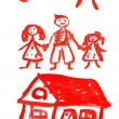 Children's drawing paints on which are drawn a family — Stock Photo #6679821