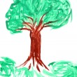 Children's drawing paints on which are drawn green  tree — 图库照片