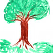 Children's drawing paints on which are drawn green  tree — Stock fotografie