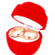 Wedding ring in red box  on white background — Stock Photo