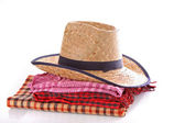 Hat and scarfs isolated on white — Stock Photo