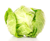 Green cabbage isolated on white background — Stock Photo