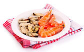 Cooked shelled tiger shrimp and mussels isolated on white — Stock Photo