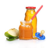 Baby food, juice and fruits isolated on white — Stock Photo