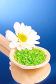 Spa with sea salt and flower — Stock Photo