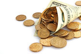 Horn from dollar with coins — Stock Photo
