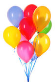 Flying balloons isolated on white — Stock Photo