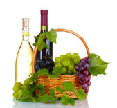 Ripe red grapes and wine in basket — Stock Photo