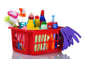 Full box of cleaning supplies and gloves — Stock Photo
