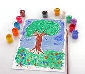 Ouvert les couleurs de seaux de peinture et de dessin d'arbre — Photo